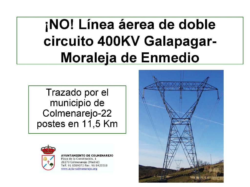 Línea área de doble circuito 400KV Galapagar- Moraleja