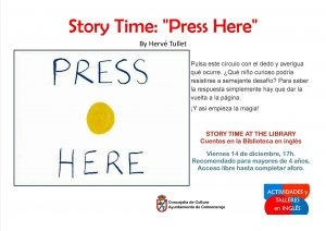 "Story Time at the library  : "" Press Here "" @ Biblioteca Municipal"
